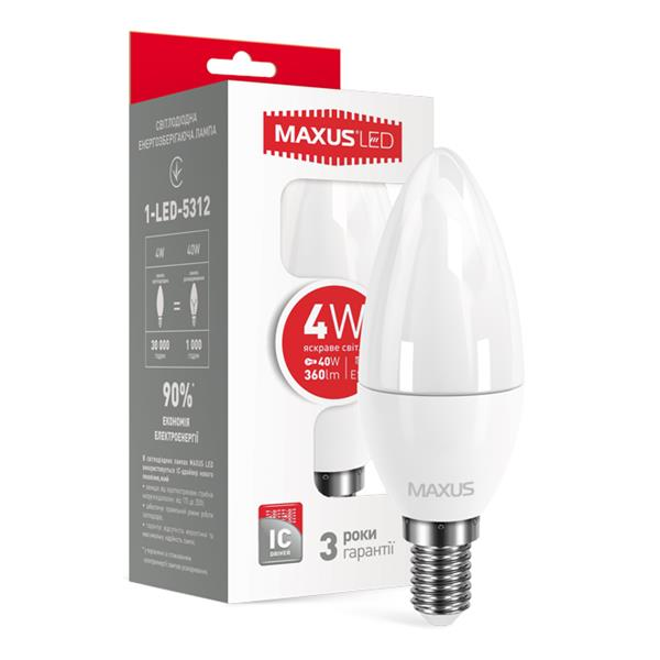 LED лампа MAXUS 1-LED-5312 C37 CL-F 4W яркий свет E14 свеча