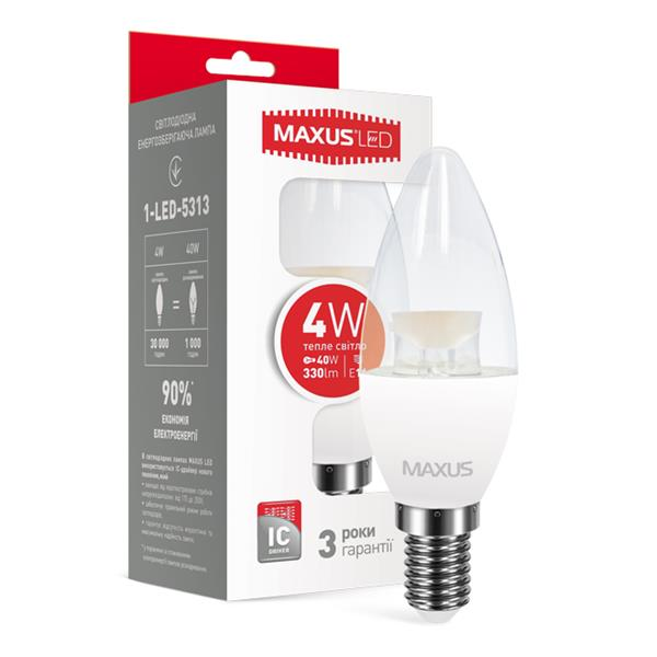 LED лампа MAXUS 1-LED-5313 C37 CL-C 4W теплый свет E14