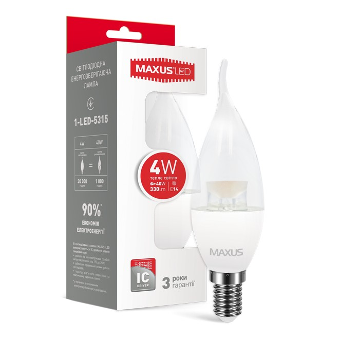 LED лампа MAXUS 1-LED-5315 C37 CL-T 4W теплый свет E14