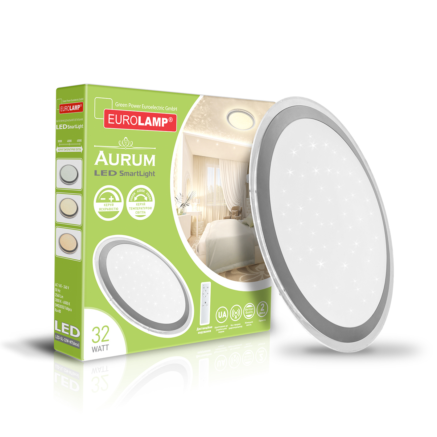 Светодиодный светильник EUROLAMP SMART LIGHT Aurum 32W 3000K-6000K LED-SL-32W-N8(deco)